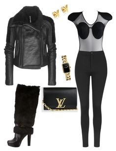 """""""real slick"""" by mi-fashion-theory ❤ liked on Polyvore featuring Rick Owens, Louis Vuitton, Gianfranco Ferré, Topshop, Chanel, women's clothing, women's fashion, women, female and woman"""