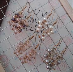 Handmade Chandelier Earrings - Lampwok Glass Beads, Fashion Pearls, Elegant Grey, Rosary Pink, Mid Night Purple, Water Clear Transparent by LuvHandmadeAtelier on Etsy