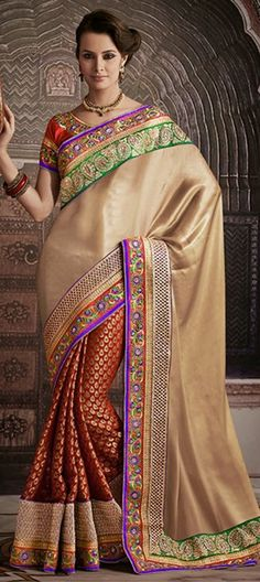 140803, Party Wear Sarees, Embroidered Sarees, Banarasi, Shimmer, Patch, Kasab, Border, Machine Embroidery, Kundan, Resham, Red and Maroon, Gold Color Family