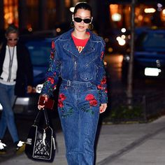 For a chill sesh with birthday girl @GigiHadid @BellaHadid bravely wore an @AdamSelman moto-style rose-covered denim jumpsuit (our fav from his fall 2017 collection) with a major @ChanelOfficial bowling bag. Scroll through to see Gigi's @AliceAndOlivia pink duster which she paired with chic @Gucci mules. Way to be thematic ladies! #WhoWonFashionToday : @gettyimages  via INSTYLE MAGAZINE OFFICIAL INSTAGRAM - Fashion Campaigns  Haute Couture  Advertising  Editorial Photography  Magazine Cover…