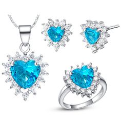 Enormous Baby Blue Zircon 925 Sterling Silver White Crystal Wedding Jewelry Sets Pendant/Necklace/ Stud Earrings/Ring SCT480 #Affiliate