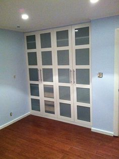 IKEA Hackers: PAX Wardrobe Turned Custom Reach in Closets. Get rid of sliding door-closet and replace with Ikea wardrobe. Ikea Closet Doors, Ikea Pax Wardrobe, Sliding Closet Doors, Bedroom Wardrobe, Pax Closet, Pantry Doors, Bedroom Closets, Bedrooms, Linen Closets