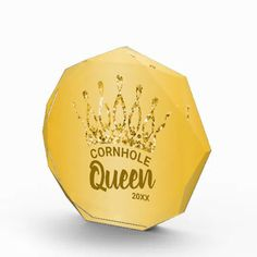Congratulate the Cornhole Queen with this cute custom award featuring a chic and trendy gold glitter crown. Personalize it with your own phrase and date. Feel free to contact me if you need help or a custom order.