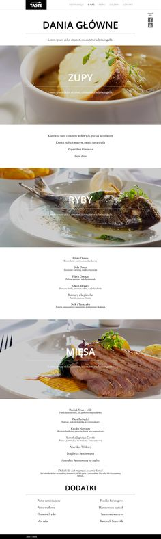 Karta menu WWW dla restauracji TASTE Wilanów.