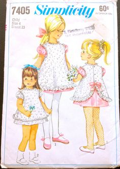 Simplicity 7405 1960s Girls Dress and Pinafore Pattern Toddlers Vintage Sewing Pattern by mbchills