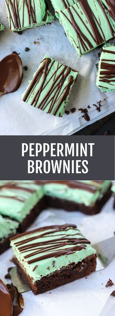 Peppermint Brownies - thick, fudgy brownies with lots of peppermint cream cheese frosting and drizzled with extra chocolate! | Fork in the Kitchen