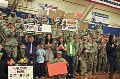 Friends and family cheer as U.S. Soldiers return home at the Special Events Center during the 438th Medical Detachment (Veterinary Services), 10th Combat Support Hospital redeployment ceremony March 21, 2013 at Fort Carson, Colo. The detachment deployed to Afghanistan in June 2012 in support of Operation Enduring Freedom. (U.S. Army photo by Cpl. William Smith/Released)    Read more: http://www.dvidshub.net/image/893838/hooray##ixzz2Oa6Yqiol