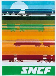 SNCF Année: 1971 Dimensions: 100 cm x 62 cm Affiche inédite. Collection particulière. Plaque sérigraphiée http://fore-affichiste.com/