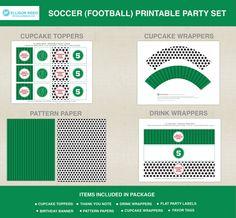 Soccer Birthday - Printable Party - Football printable party - SPORTS PRINTABLE - Soccer Ball - Birthday Party - DIY Printable. $42.00, via Etsy.