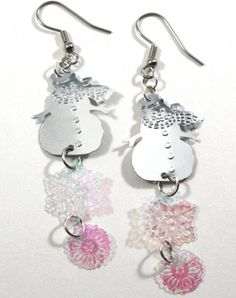 Winter Silver Snowman Earrings Iridescent Snowflakes Christmas Dangles | PrincessEMarie - Jewelry on ArtFire