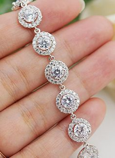 Halo Style luxury cubic zirconia Bridal Bracelet from EarringsNation. Stunning