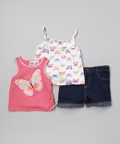 Look what I found on #zulily! Pink & White Butterfly Tank Set - Infant & Toddler by Peanut Buttons #zulilyfinds