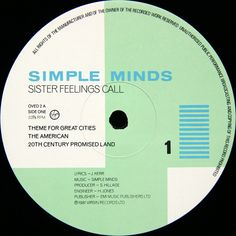 Simple Minds - Sister Feelings Call. By Malcolm Garrett.