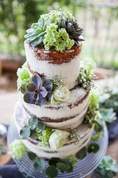Wedding cake with fresh flowers and succulents