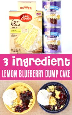 Lemon Blueberry Dump Cake from Box Cake Mix! EASY 3-ingredient desserts are perfect for busy nights, and this delicious treat is just what your Summer needs!  Just let your slow cooker do the work for you.  Go grab the recipe and give it a try this week! Lemon Blueberry Dump Cake Recipe, Blueberry Dump Cakes, Yummy Treats, Delicious Desserts, Homemade Desserts, Sweet Treats, Two Ingredient Desserts, 3 Ingredient Cakes, Dump Cake Recipes