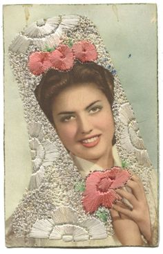 vintage embroidered photographs