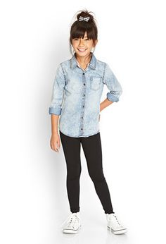 Classic Denim Shirt (Kids) | FOREVER21 girls - 2000083300
