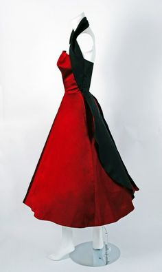 1950's Sorelle Fontana Couture Ruby-Red & Black Satin Halter Party Dress | From a collection of rare vintage evening dresses at http://www.1stdibs.com/fashion/clothing/evening-dresses/