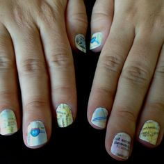 Map nails! Paint your nails, let them dry completely, dip one finger in alcohol for 5 seconds then put a piece of map over nail while it is still wet, press for 15 seconds... lift and you're done. Remove any stuck paper rub with q-tip dipped in alcohol.