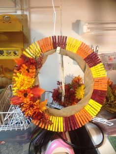 Clothespin wreath (fall)