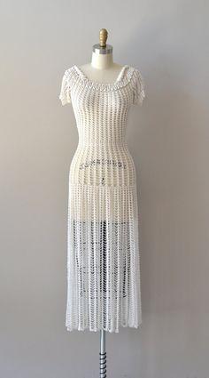 vintage 1930s dress / crochet 30s dress / Solo De Lune