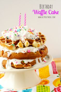 Birthday Waffle Cake: From a box cake mix, cooked in a waffle iron for a fun birthday breakfast! Food Cakes, Cupcake Cakes, Cupcakes, Churros, Birthday Cake Alternatives, Creative Birthday Cakes, Birthday Cake For Women Easy, Waffle Iron Recipes, Delicious Desserts