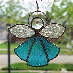 Angel Suncatcher stained glass blue