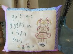 Goggling girls embroidered pillow  on ETSY https://www.etsy.com/listing/242739032/whimsical-girls-are-giggles-hand?ref=shop_home_active_1