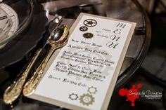 The menu from the steampunk wedding expo