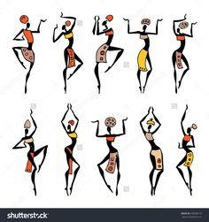 Dancing silhouettes. Oriental dancer Beautiful women. Vector Illustration