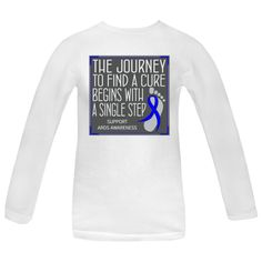 "Whether you're walking, jogging or running for a cause, you need to set yourself apart with this cute slogan design called ""The Journey to Find A Cure Begins With A Single Step"" Women's Long Sleeve T-Shirts for ARDS awareness featuring a ribbon over a footprint to signify that every step counts. $21.99 awarenessribboncolors.com"