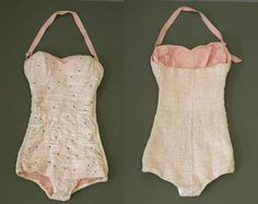 Sparkly 50s Pink Lace Swimsuit with by VioletsAtticVintage on Etsy, £175.00