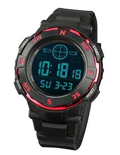 INFANTRY Men's Sport Digital Wrist Watch with Strong Rubber Strap-Red