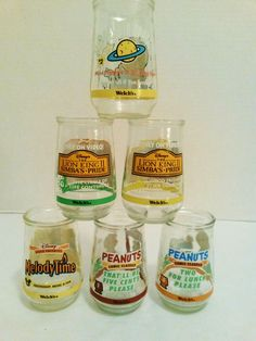 Vintage 6 Welchs Glass Jelly Jars Collectible Disney Peanuts, Lion King, Muppets & MelodyTime  #welchs www.stores.eBay.com/variety-on-a-budget www.amazon.com/shops/Variety-on-a-Budget www.bonanza.com/booths/VarietyonaBudget www.facebook.com/VarietyonaBudgetOnlineShopping