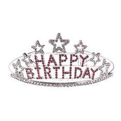Rhinestones Happy Birthday Crystal Glitter Tiara Crown Headband Comb Pin * Click image for more details.