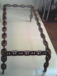 SHIP Anchor Chain Lucite Coffee Table Bench Mid Century Industrial Modern | eBay
