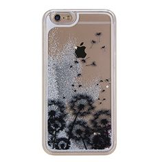 """IKASEFU Glitter Liquid Case for Iphone 6,Creative Funny Cute 3D Black Dandelion Flowing Water Bling Silver Stars Hard Clear Case for Iphone 6 4.7""""-Silver Stars,Black Dandelion"""