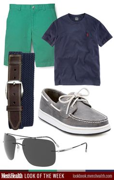menshealthstyle:    Keep it casual and go back to the basics with this look.  Shirt: Polo Ralph LaurenBoat Shoe: SperryBelt: Martin Dingman via NordstromShorts: Lacoste via Bloomingdales:Sunglasses: Silhouette Eyewear