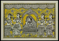 Madhubani painting - The Marriage Procession | NOVICA Beautifully dressed for her marriage, a woman rides in a palanquin while members of her family carry her on strong shoulders. A wedding is a joyous occasion in a village in Mithila, and even nature rejoices as flowers burst into bloom. Vidushini works in the traditional Madhubani style, painting this romantic scene freehand on recycled paper