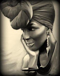 Black Women Art!, Wrapped In Joy 18x24 Salaam Muhammad