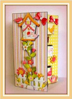 Card Gallery - Double Pop Out Card - Bird House  Card beautifully made up by Rae Trees.