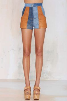 After Party Vintage Nellie Leather Patchwork Shorts - Shorts