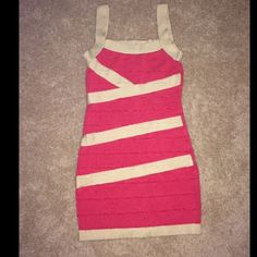 Forever21 Pink & Cream Bandage Dress Perfect dress for a night out in vegas or a night out with girlfriends! Beautiful color combination in a slimming bandage style dress. Worn once, great condition. Size small Forever 21 Dresses Mini
