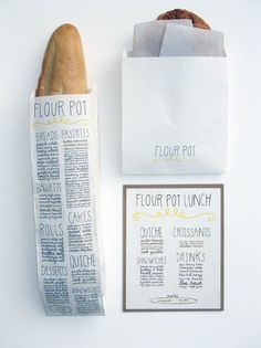 Sara Nicel created this system of identifying the baked goods for www.theflourpotba...   The menu printed on the bag is a clever way of displaying all of the shop's specialities while one is enjoying their pastry :) via twigandthistle