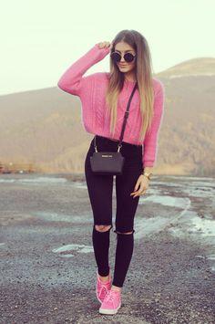 Un hermoso outfit de rosa y negro para otoño!!