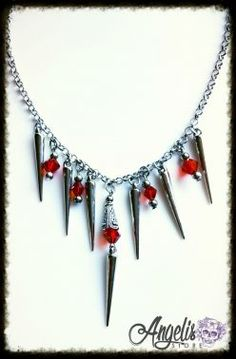 Gothic Vampire Spike and Red Bead Necklace Gothic Vampire, Beaded Necklace, Necklaces, Beads, Diamond, Stuff To Buy, Jewelry, Beaded Collar, Beading