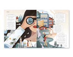 Editorial Design Magazine, Magazine Layout Design, Editorial Layout, Magazine Design Inspiration, Gq Magazine, Time Magazine, Magazine Covers, Magazine Illustration, Travel Illustration