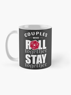 """""""Couples who roll together, stay together D20"""" Mug by ninthstreet   Redbubble Nerdy, Cool Designs, Rolls, Tapestry, Ceramics, Mugs, Couples, Tableware, Awesome"""