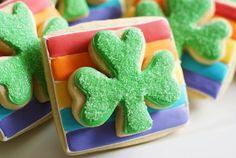 Rainbow Shamrock Cookies