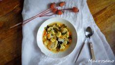 Sopa de verduras con alga wakame y lentajas rojas.